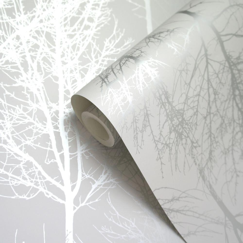 Rhea Trees Wallpaper - Silver - by Albany