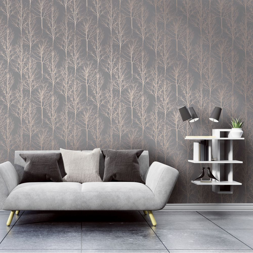 Rhea Trees Wallpaper - Rose Gold - by Albany
