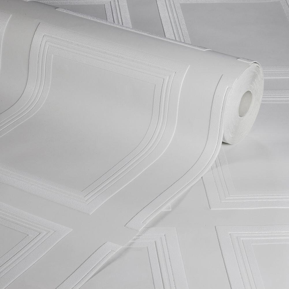 Edwardian Panel Wallpaper - White - by Anaglypta