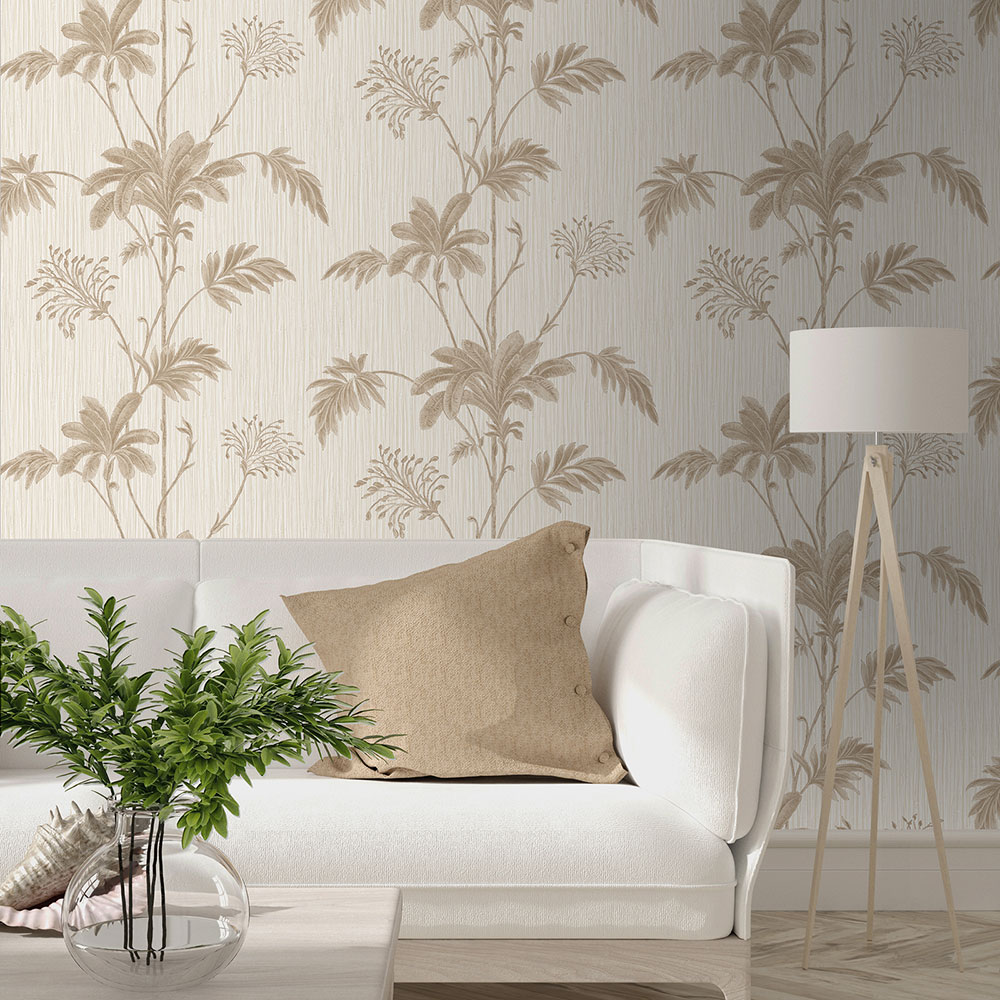 Grasscloth Wallpaper - Cream/Gold Leaf - by Albany
