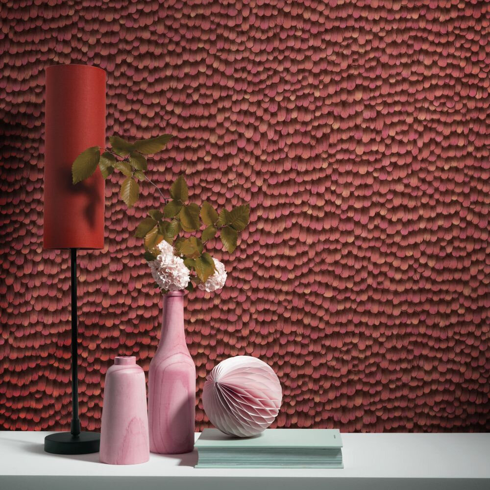 Feathers Wallpaper - Red - by Galerie