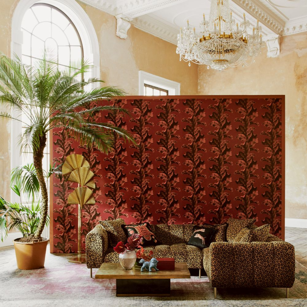Oriental Leaves Wallpaper - Red - by Paloma Home