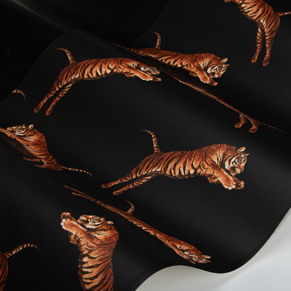 Pouncing Tigers Wallpaper - Black - by Paloma Home