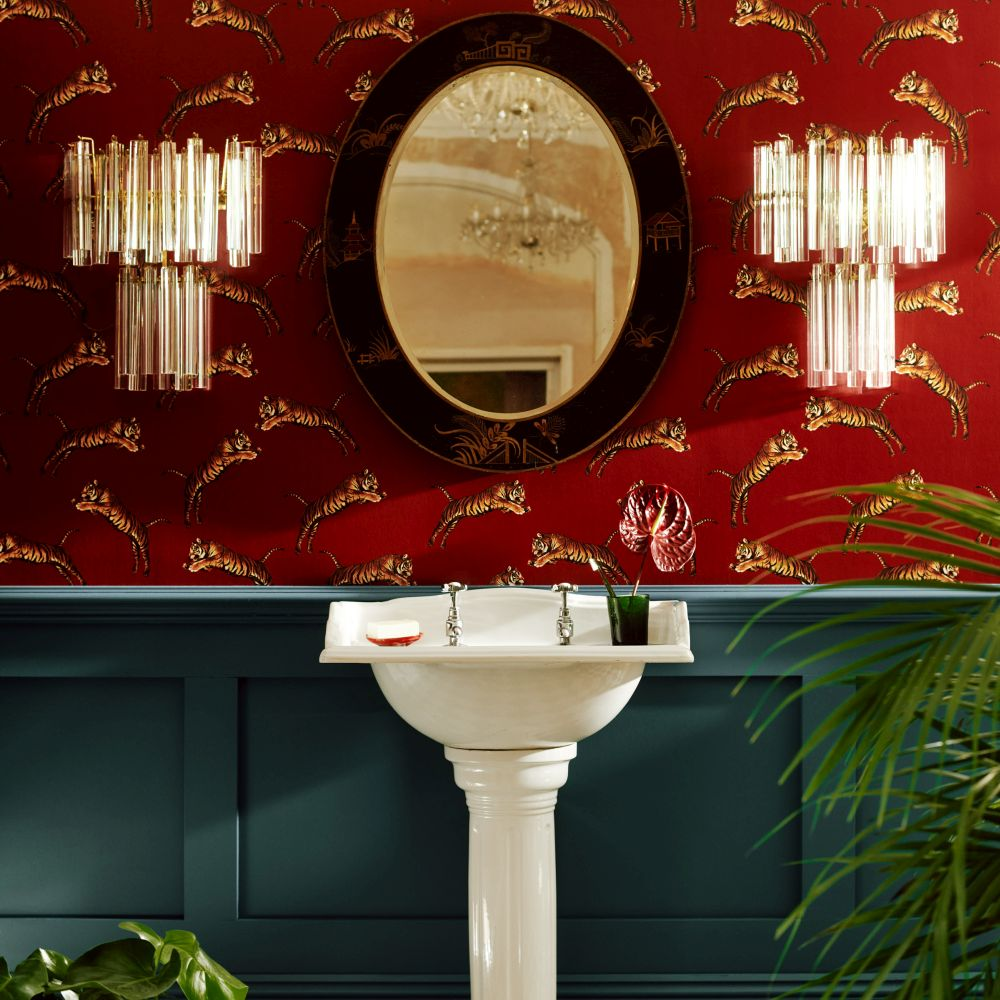 Pouncing Tigers Wallpaper - Red - by Paloma Home