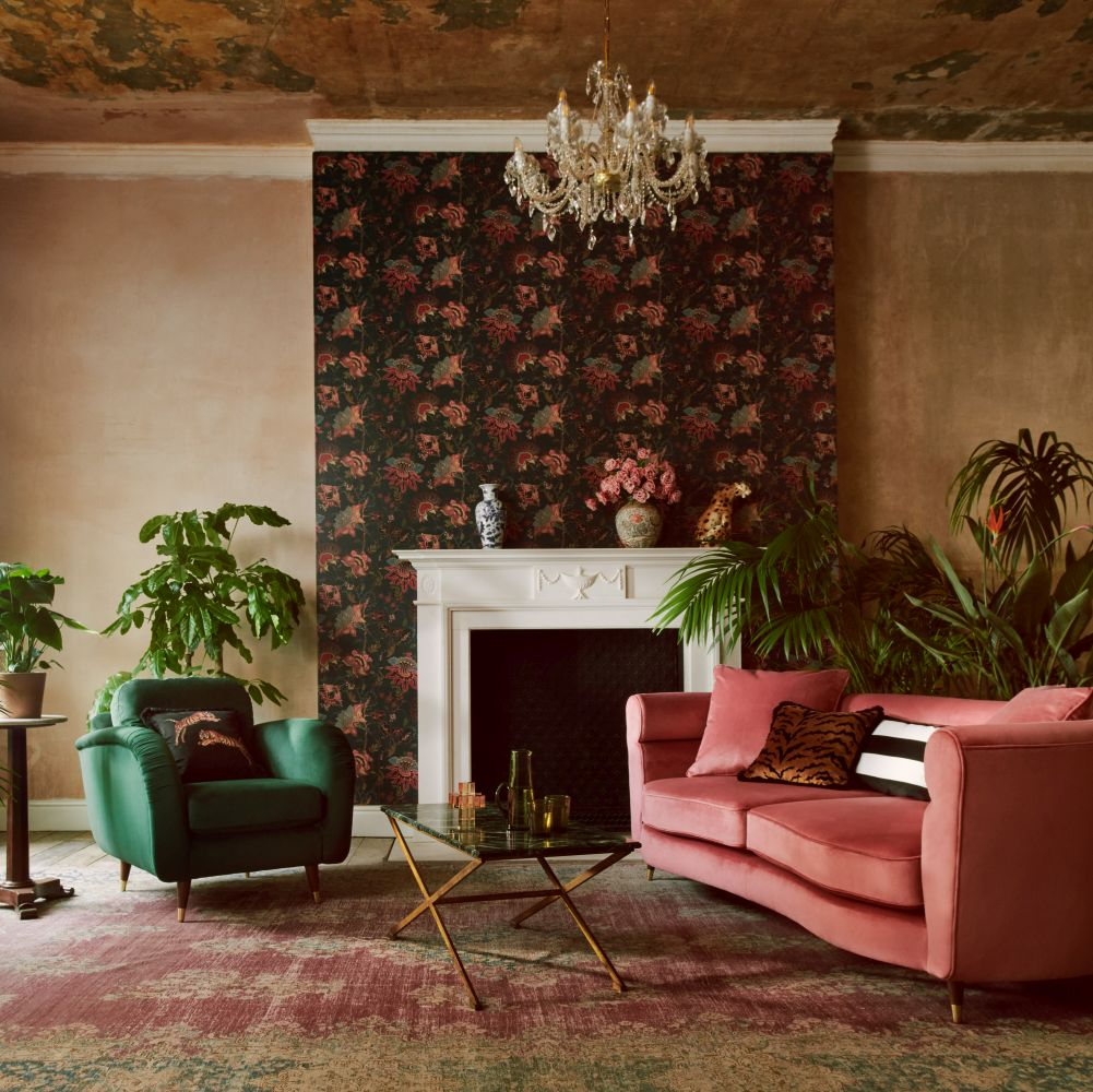 Vintage Botanicals Wallpaper - Black - by Paloma Home