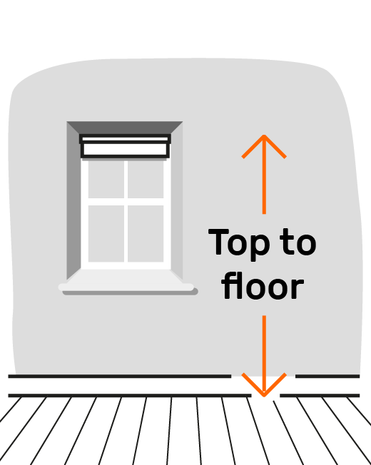 Height = top of blind inside recess to floor