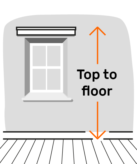 Height = top of blind outside recess to floor